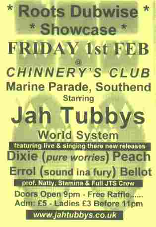 1st Feb 2002 Jah Tubbys at Chinnerys